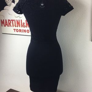 Bebe stretch black laser cut Dress